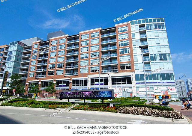 Chicago Illinois new shopping and living complex called Roosevelt Collection on Roosevelt Avenue