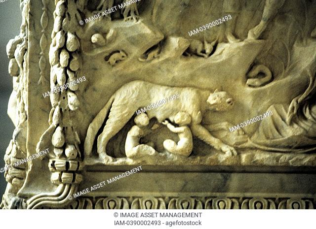 Romulus and Remus suckling from the she-wolf  Detail from marble monument to the twin founders of Rome