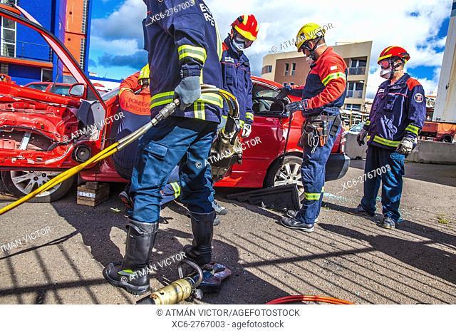 Firemen Manoeuvre in the fire station of San Cristobal de La Laguna