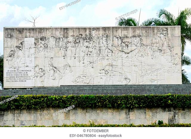 Santa Clara, Cuba - 8 january 2016: people visiting Che Guevara statue and the mausoleum in Revolution Square. Che participated in the Cuban revolution and the...