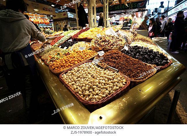 Food market La Boqueria Barcelona, Catalonia, Spain