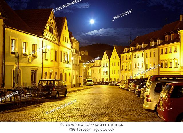 Loket - Old Town Square at night, Loket, Czech Republic, Europe