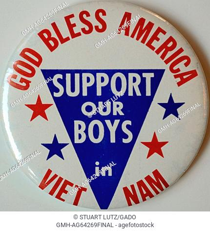 God Bless America, Support Our Boys in Vietnam, a pro war button with red, white and blue colors expressing support for American troops during the Vietnam War
