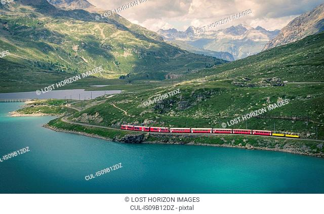 Glacier Express train on the Bernina Pass, Canton Graubunden, Switzerland