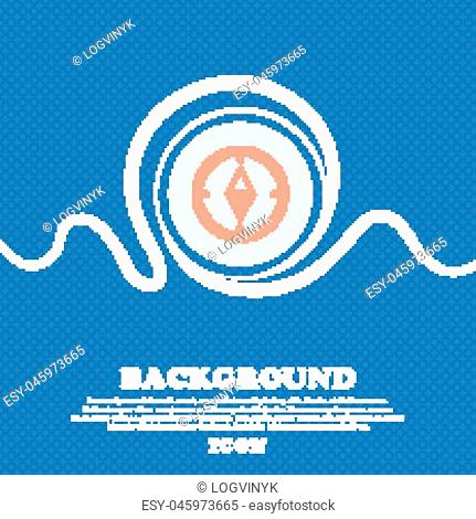 Compass sign icon. Windrose navigation symbol. Blue and white abstract background flecked with space for text and your design. Vector illustration