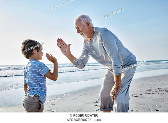 Grandfather and grandson high fiving on the beach