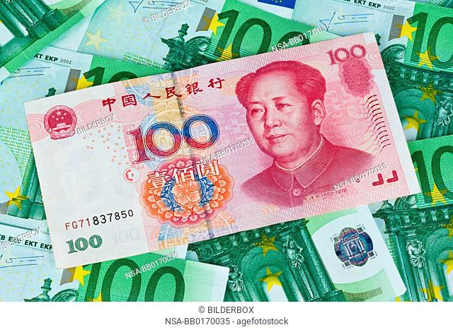 Euro banknotes of the European Union and Chinese Yuan
