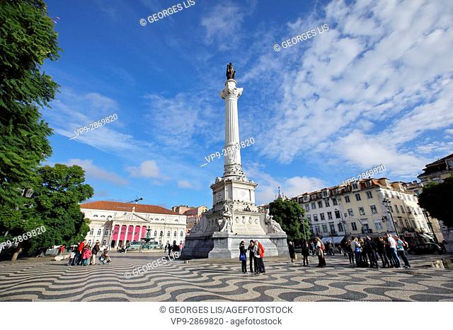 column statue square National theater Dona Maria Rossio Lisbon Portugal