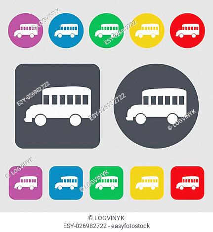 Bus icon sign. A set of 12 colored buttons. Flat design. Vector illustration