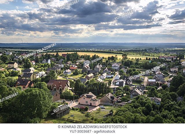 Aerial view of Podzamcze village from Ogrodzieniec castle in Polish Jura region, Silesian Voivodeship of southern Poland
