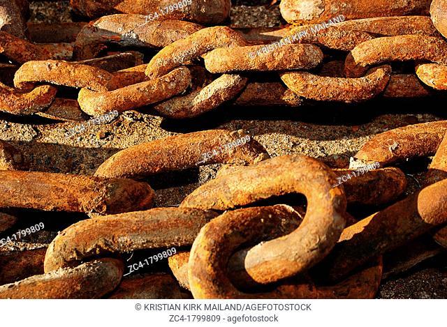 Old rusty iron chain