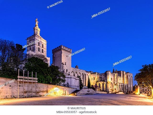 France, Provence, Vaucluse, Avignon, Place du Palais, Papal palace, cathedral Notre Dame