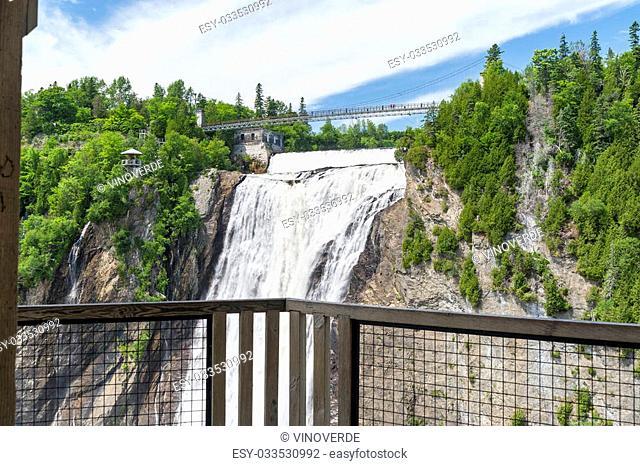 Montmorency Falls viewed from gazebo across basin