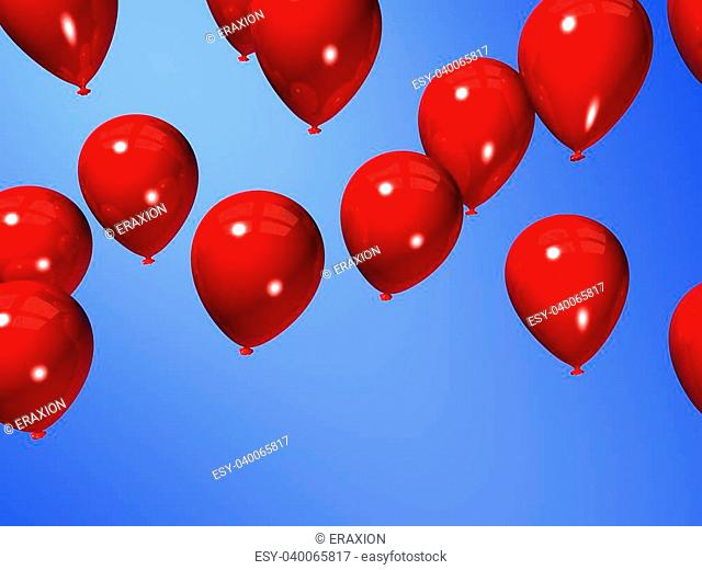 3d rendered illustration of some flying balloons