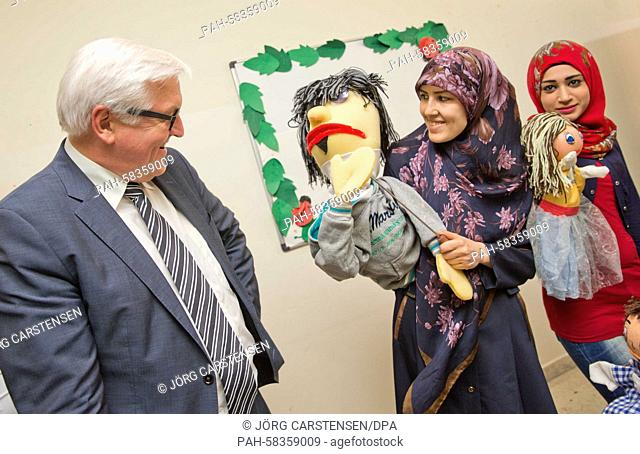 German Foreign Minister Frank-Walter Steinmeier (SPD) visits a community centre where Syrian refugees are doing leisure activities, in Beirut, Lebanon