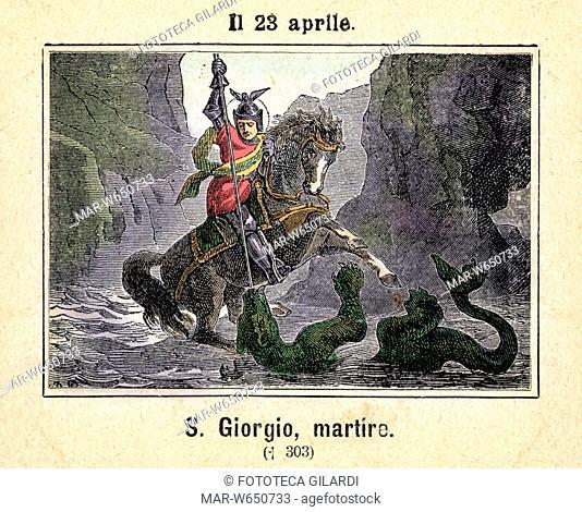 SAN GIORGIO DI LIDDA militare, nato in Cappadocia nel 270 e martirizzato in Nicomedia nel 303. Raffigurazione durante la leggendaria sconfitta del drago