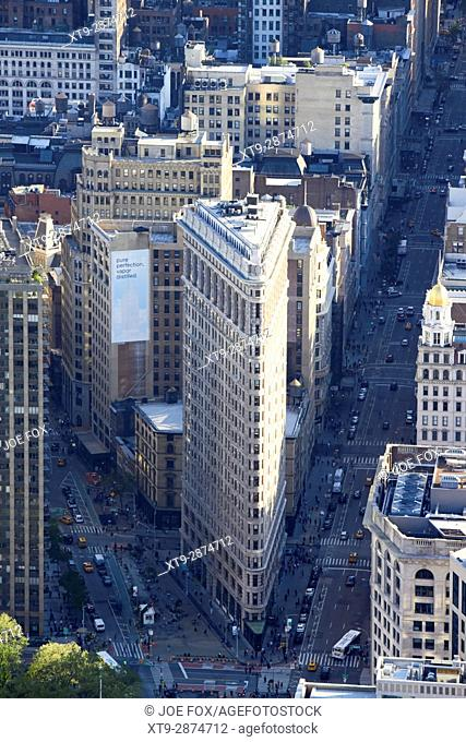 aerial view of the flatiron building fifth avenue and broadway New York City USA