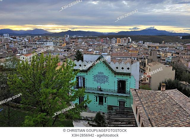 view of Girona from the walk walk on the ramparts of the old city, Catalonia, Spain, Europe