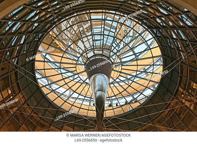 Reichstag Dome by Norman Foster, view from inside the plenary hall of the Bundestag at dusk, Berlin, Germany, Europe