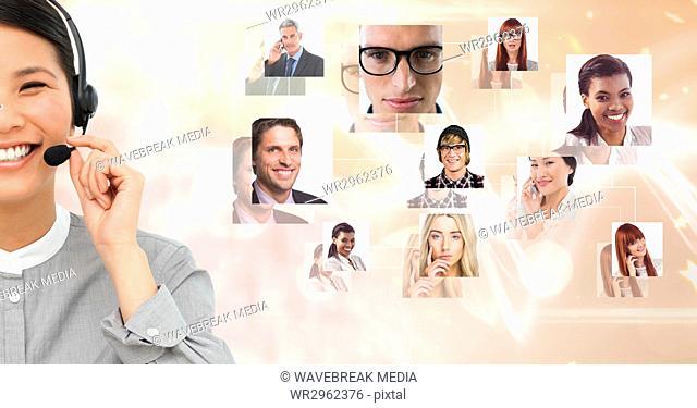 Businesswoman wearing headphones with portrait graphics in background