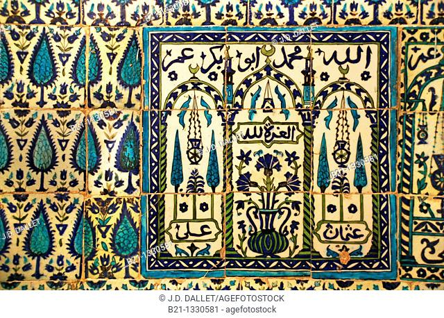 Zellige ceramics, Mosque of Mohi ed Din at Damascus, Syria