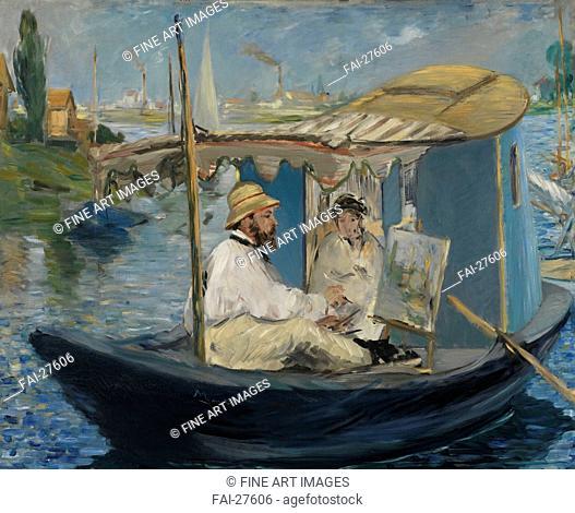 The Boat (Claude Monet in Argenteuil) by Manet, Édouard (1832-1883)/Oil on canvas/Impressionism/1874/France/Neue Pinakothek, Munich/80x98/Landscape