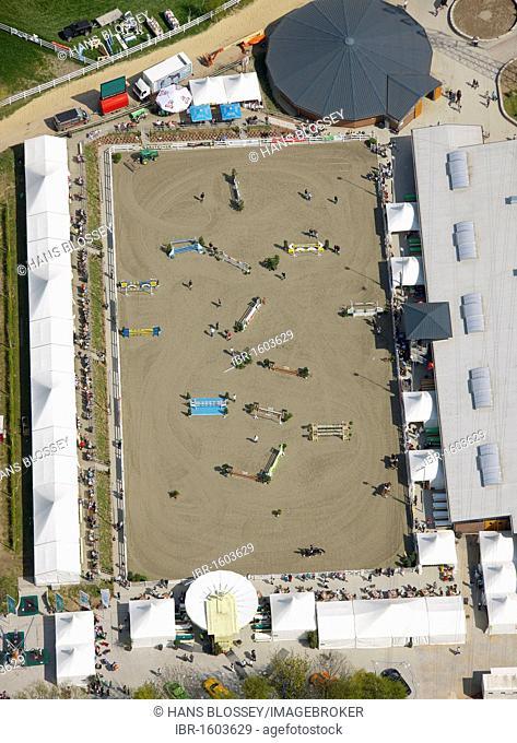 Aerial view, horse show, equestrian facility Reiterhof Massener Heide, Unna, Ruhrgebiet region, North Rhine-Westphalia, Germany, Europe