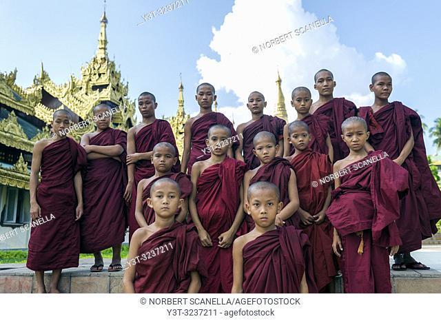 Myanmar (formerly Burma). Yangon. (Rangoon). Young monks posing in front of the Shwedagon pagoda