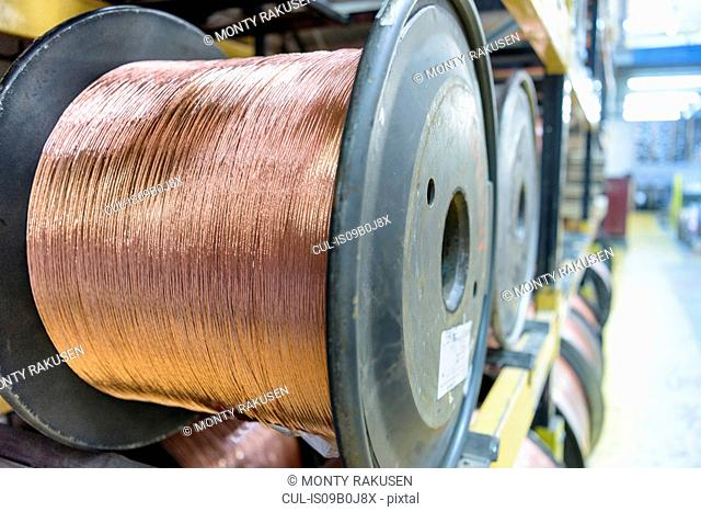 Copper cable in cable factory, close up