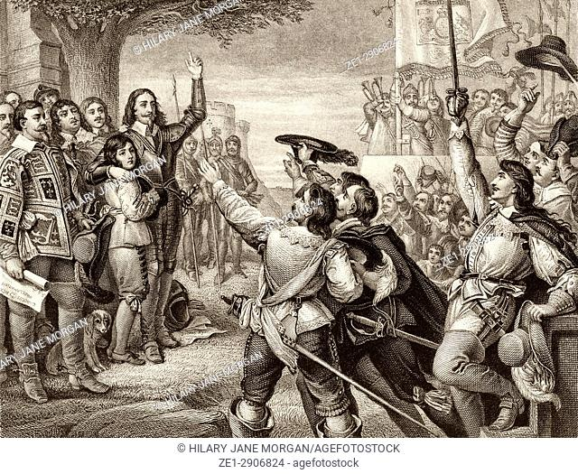 The opening scene of the First English Civil War. Charles I erecting his royal standard at Nottingham, England, August 22nd, 1642