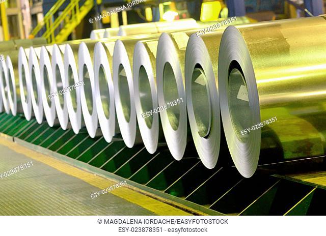 rolled steel coils inside of steel plant