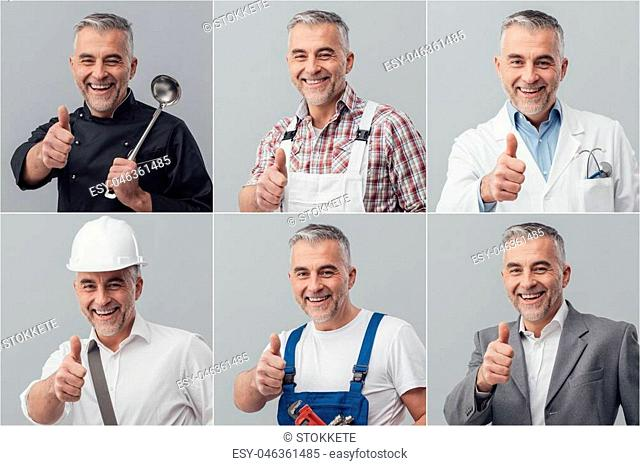 Smiling mature man posing with different uniforms and giving a thumbs up; photo collage