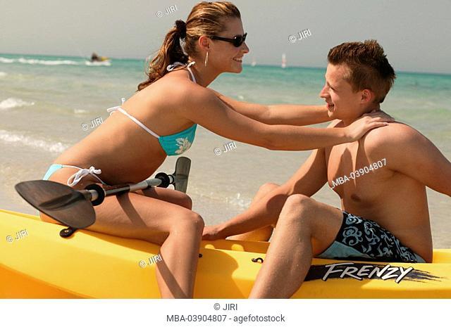 Tunisia, Djerba, Iberostar Djerba Beach, canoe, pair, falling in love, cheerfully, at the side, series, Mediterranean, beach, boat, kayak, people, tourists