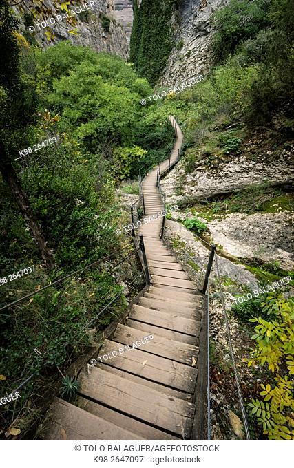barranco de la Fuente, Ruta de las pasarelas, Alquézar, municipio de la comarca Somontano Provincia de Huesca, Comunidad Autónoma de Aragón, Spain