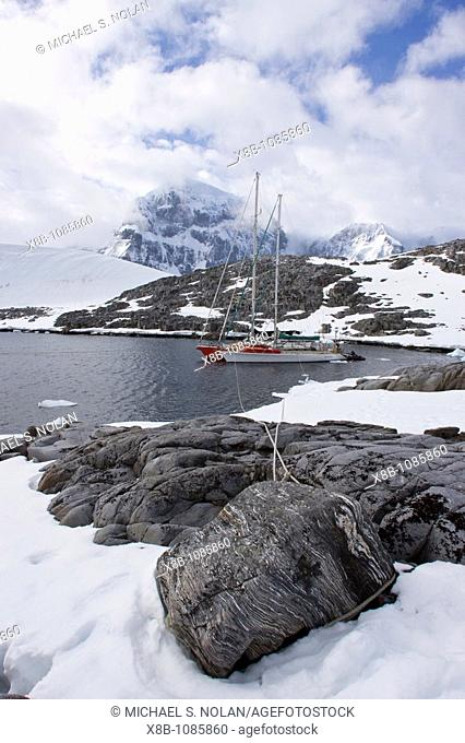 Private sailboats tied up at Alice Creek near Jougla Point, in Port Lockroy at the western end of Wiencke Island, Antarctica