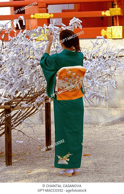 JAPANESE WOMAN ATTACHING TO A PINE AN OMIKUJI SACRED LOTTERY, A DIVINATION WRITTEN ON STRIPS OF PAPER DRAWN RANDOMLY IN THE SHINTO SHRINES AND BUDHIST TEMPLES