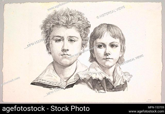 Portrait of the Rabe Children: Hermann, age 14 and Edmond, age 7; verso: proof before corrections of small faults in the images