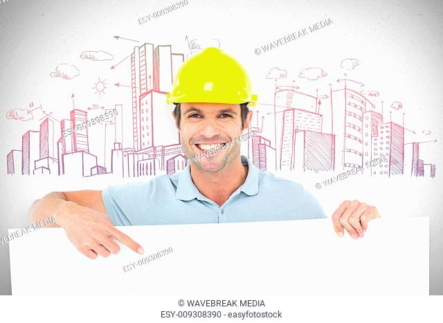 Composite image of architect with bill board over white background