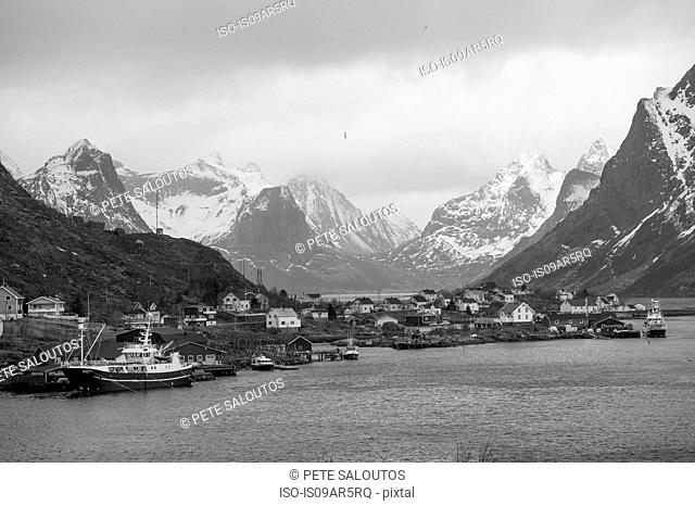 Fishing village in black and white, Reine, Lofoten, Norway