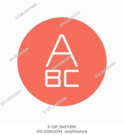 Alphabet with bold font thin line icon