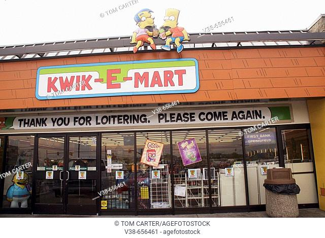 The Cartoon characters the Simpsons at a Kwick E Mart in Bladensburg, Maryland USA