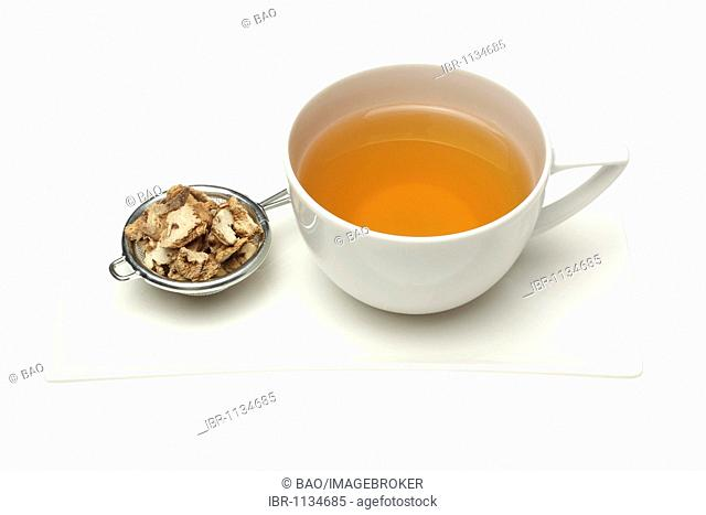 Herbal tea made from the medicinal plant Bletilla, striped Chinese Orchid, Japanese Orchid (Bletilla stricata), Bai Ji, here dried roots