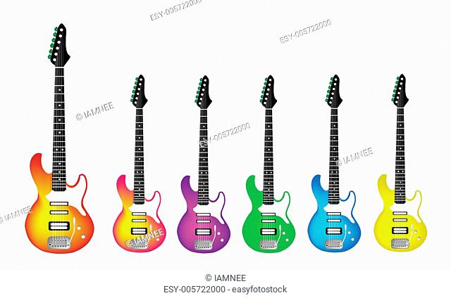 Lovely Heavy Metal Electric Guitar on White Background
