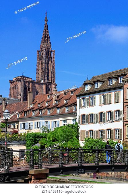 France, Alsace, Strasbourg, cathedral, Ill River, bridge, skyline