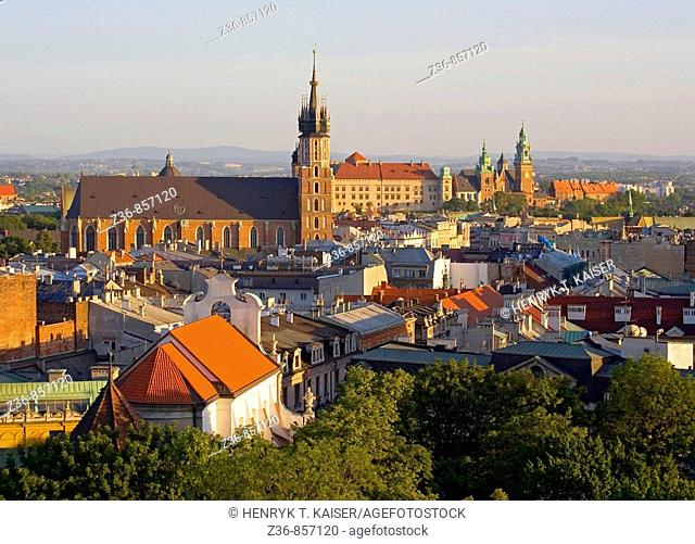 Poland, Krakow, cityline from high