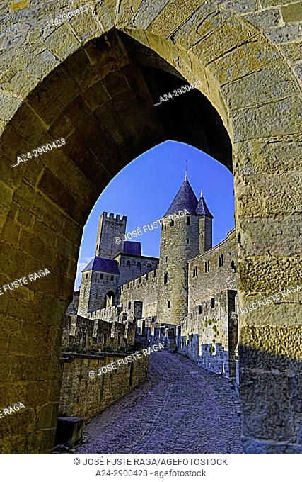 France, Aude region, Carcassonne city, la cite, medieval fortress, W. H. ,