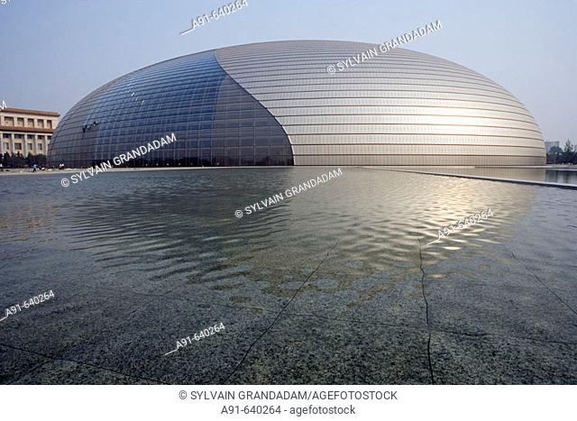 the new opera house near Tian Nen Men square , opening 2008 (Architect Paul Andreu from France ). City of Beijing. China