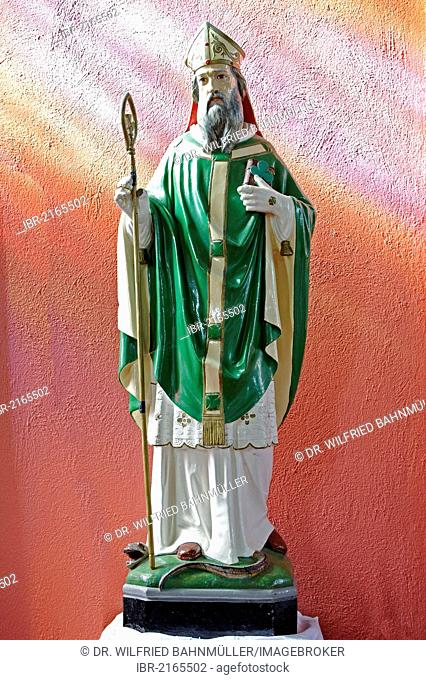 St. Patrick of Ireland, saint figure, Catholic Church of St. Declan, Ardmore, County Waterford, Ireland, Europe