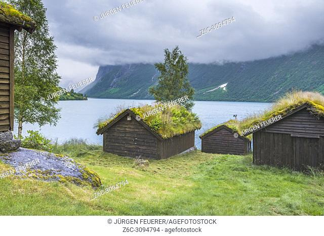 mountain pasture Breng and the lake Lovatnet, Norway, mountain pasture with alpine huts, Jostedalen near Loen