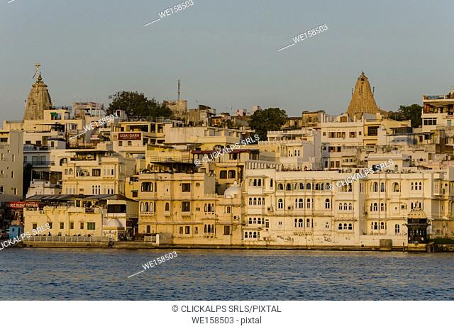 Udaipur, Rajasthan, India. A view of Udaipur from the shores of Lake Pichola